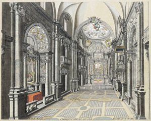 Veduta dell'interno della Chiesa del Corpus Domini dal Theatrum Sabaudiae, I, tavola 21. © Archivio Storico della Città di Torino