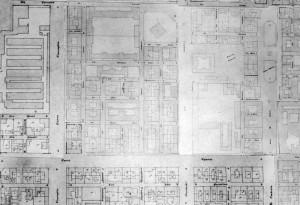 """Stralcio della """"mosaicatura"""" delle mappe d'impianto del catasto erariale vigente, inizio Novecento (Testa, 1995, p. 352)."""