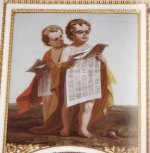 Ristorante del Cambio, sovrapporta con putti (riproduzione da libro: Ronchetta, 2001, p. 174)