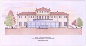 Prospetto principale del nuovo padiglione di villa Amoretti. © Servizio Edilizia per la Cultura.