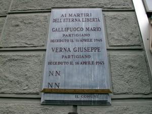 Lapide dedicata a Gallifoco Mario, Verna Giuseppe e due sconosciuti