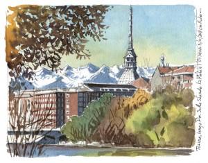 Lorenzo Dotti, Torino, lungo Po. Sullo sfondo la Mole e l'Orsiera, 5 novembre 2018 ore 11,20, acquerello