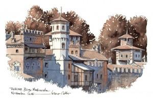 Lorenzo Dotti, Torino, Borgo Medievale, novembre 2015, acquerello