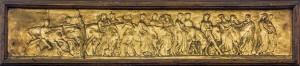 Focacceria ligure, particolare del fregio raffigurante Processione con tori sulla vetrina a pilastro, 2017 © Archivio Storico della Città di Torino