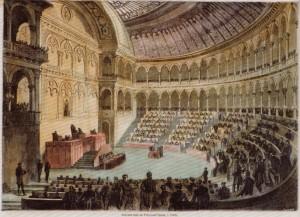 Nuova sala del Parlamento italiano a Torino, 1861