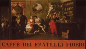 Insegna del Caffè Fiorio in via Po, 1800 ca. © Fondazione Torino Musei - Archivio fotografico.