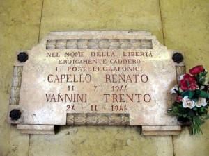 Lapide dedicata a Renato Capello e Trento Vannini