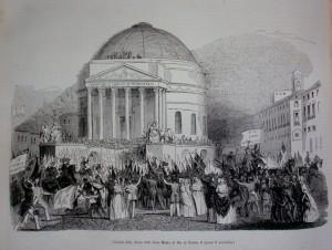 Veduta della chiesa della Gran Madre di Dio il giorno 3 novembre 1847, da
