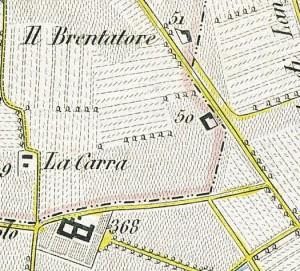 Cascina Panatera. Antonio Rabbini, Topografia della Città e Territorio di Torino, 1840, © Archivio Storico della Città di Torino