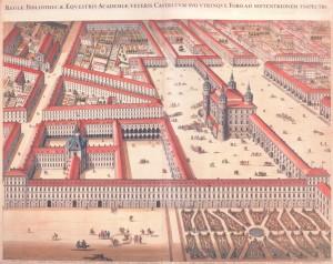 Il complesso dell'Accademia e della Cavallerizza secondo il progetto di Amedeo di Castellamonte, 1674 (da Theatrum Sabaudiae, I).