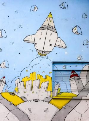 XEL, Mu.Fant, dettaglio del murale, 2015. Fotografia di Roberto Cortese, 2017 © Archivio Storico della Città di Torino