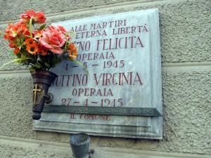 Lapide dedicata a Felicita e Virginia Ruffino