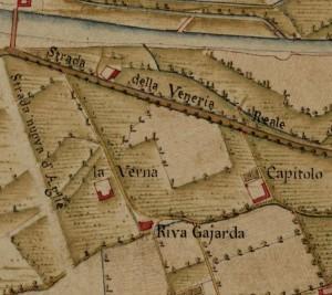 Cascina Verna nel quartiere Aurora. AST, Carta Topografica della Caccia, 1760-1766 circa. © Archivio di Stato di Torino