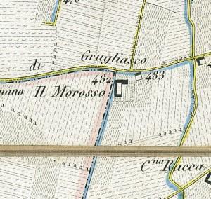 Cascina Morozzo. Antonio Rabbini, Topografia della Città e Territorio di Torino, 1840. © Archivio Storico della Città di Torino
