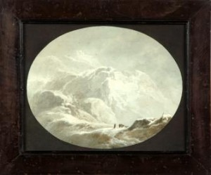 Giuseppe Pietro Bagetti, Paesaggio (Valico alpino sotto la neve), 1809, acquerello su carta applicata su cartoncino iscrizioni sul retro: