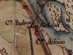 Cascina Nicolini e Cascina Arnaldi, già cascina Rubeo. Carta delle Regie Cacce, 1816, ©Archivio di Stato di Torino