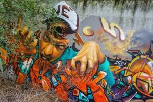 Artisti vari, dettaglio del murale We Love Enak, 2010/2015, giardinetti di via Ponzio. Fotografia di Roberto Cortese, 2017 © Archivio Storico della Città di Torino