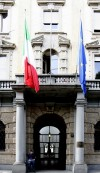 Particolare della porzione centrale del fronte su corso Vinzaglio in corrispondenza dell'accesso principale. Fotografia di Caterina Franchini per MuseoTorino.