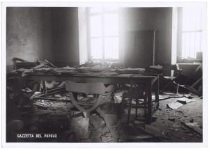 Regia Università, Facoltà di Magistero, Via della Cittadella 3. Effetti prodotti dai bombardamenti dell'incursione aerea del 9 dicembre 1942. UPA 3026D_9D02-54. © Archivio Storico della Città di Torino