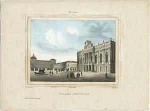 Palazzo Madama e piazza Castello. Litografia di Doyen e C. su disegno di E. Gonin, 1841. © Archivio Storico della Città di Torino