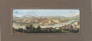 Veduta del ponte Vittorio Emanuele I. Litografia, 1845. © Archivio Storico della Città di Torino