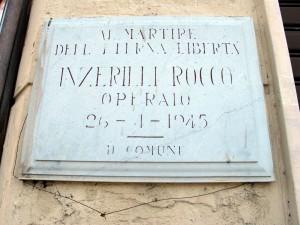 Lapide dedicata a Inzerilli Rocco (1922 - 1945)