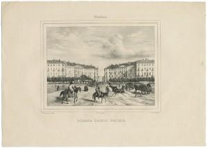 Veduta di piazza Carlo Felice. Litografia di D. Festa su disegno di E. Gonin, 1835. © Archivio Storico della Città di Torino.