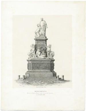 Monumento a Camillo Benso conte di Cavour. Litografia dei F.lli Doyen, 1873. © Archivio Storico della Città di Torino