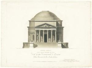 Progetto per la chiesa della Gran Madre di Dio, disegnato dall'architetto Ferdinando Bonsignore. © Archivio Storico della Città di Torino
