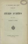 «Annuario accademico», A. XII, a.a. 1887-1888, Torino, copertina