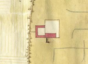 Cascina Il Tarino. Disegno dei terreni esistenti tra Torino, Beinasco e Drosso, 1642. © Archivio Storico della Città di Torino