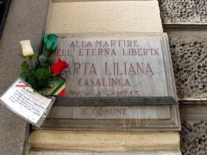 Lapide dedicata a Carta Liliana (1921 - 1945)
