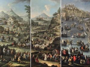 Da sinistra, Giovanni Michele Graneri (Torino, 1708-62), «Caccia al cervo in Sardegna» (opera siglata e datata), 1747; «Festa a un santuario sardo» e «Festa nautica nel porto di Cagliari». © Palazzo Madama, Torino