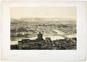 Veduta di Torino con piazza Vittorio Emanuele. Litografia di Springer, Parigi. © Archivio Storico della Città di Torino
