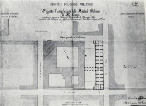 Giovanni Castellazzi, Pianta e prospetto del nuovo Ospedale Militare Divisionario, 1863. ASCT, Progetti edilizi. © Archivio Storico della Città