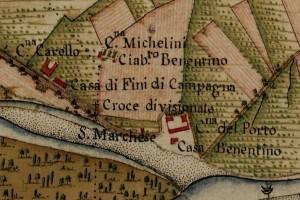 Cascina Nicolini e Cascina Arnaldi, già cascina Rubeo. Carta Topografica della Caccia, 1760-1766 circa, ©Archivio di Stato di Torino