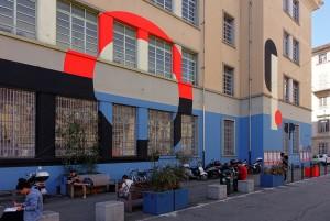 Il Cerchio e le Gocce, murale senza titolo, 2015, liceo Regina Margherita. Fotografia di Roberto Cortese, 2017 © Archivio Storico della Città di Torino
