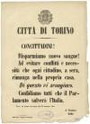 Proclama del Sindaco Rorà in seguito agli incidenti del settembre 1864. ©Archivio Storico della Città di Torino