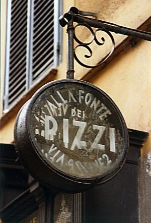 Busters coffee, ex Alla Fonte dei Pizzi, particolare dell'insegna a bandiera, Fotografia di Marco Corongi, 2001 ©Politecnico di Torino