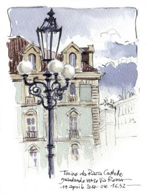Lorenzo Dotti, Torino da Piazza Castello guardando verso via Roma, 19 aprile 2017 ore 16,32, acquerello