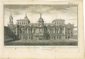 Il padiglione antistante il Palazzo Reale con le sovrastrutture costruite in occasione dell'ostensione della SS. Sindone, 1737. ASCT, SIM B163 tav. 12