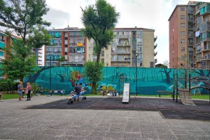 Artisti vari, La palude, 2018, giardinetti di via Ponzio