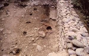 Bric San Vito. La capanna A (buche di palo, focolare e piano d'uso) in corso di scavo, © Soprintendenza per i Beni Archeologici del Piemonte e del Museo Antichità Egizie.