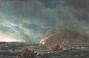 """Giuseppe Pietro Bagetti, Tempesta con nubifragio, firmato in basso a sinistra """"Bagetti pinxit"""", 1805-1820, acquarello su cartoncino. Musei Reali Torino-Galleria Sabauda"""