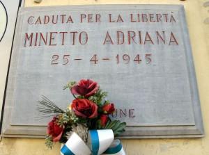 Lapide dedicata a Minetto Adriana (1927 - 1945)