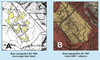 Carte topografiche in cui è evidenziata la precedente morfologia della torbiera di Trana. Fotografia di Paolo Baggio et al., 2003
