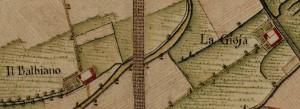 Cascina Balbiano e cascina Gioia. Carta Topografica della Caccia, 1760-1766 circa, © Archivio di Stato di Torino.