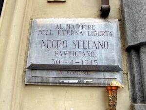 Lapide dedicata a Stefano Negro (1928 - 1945)