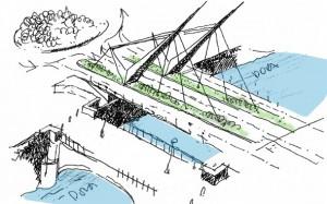 Schizzo di progetto del nuovo ponte affiancato a quello preesistente.