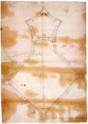 Disegno della città e Cittadella di Torino attribuibile a Francesco Paciotto, ca. 1564 (Biblioteca Reale di Torino, Disegni).